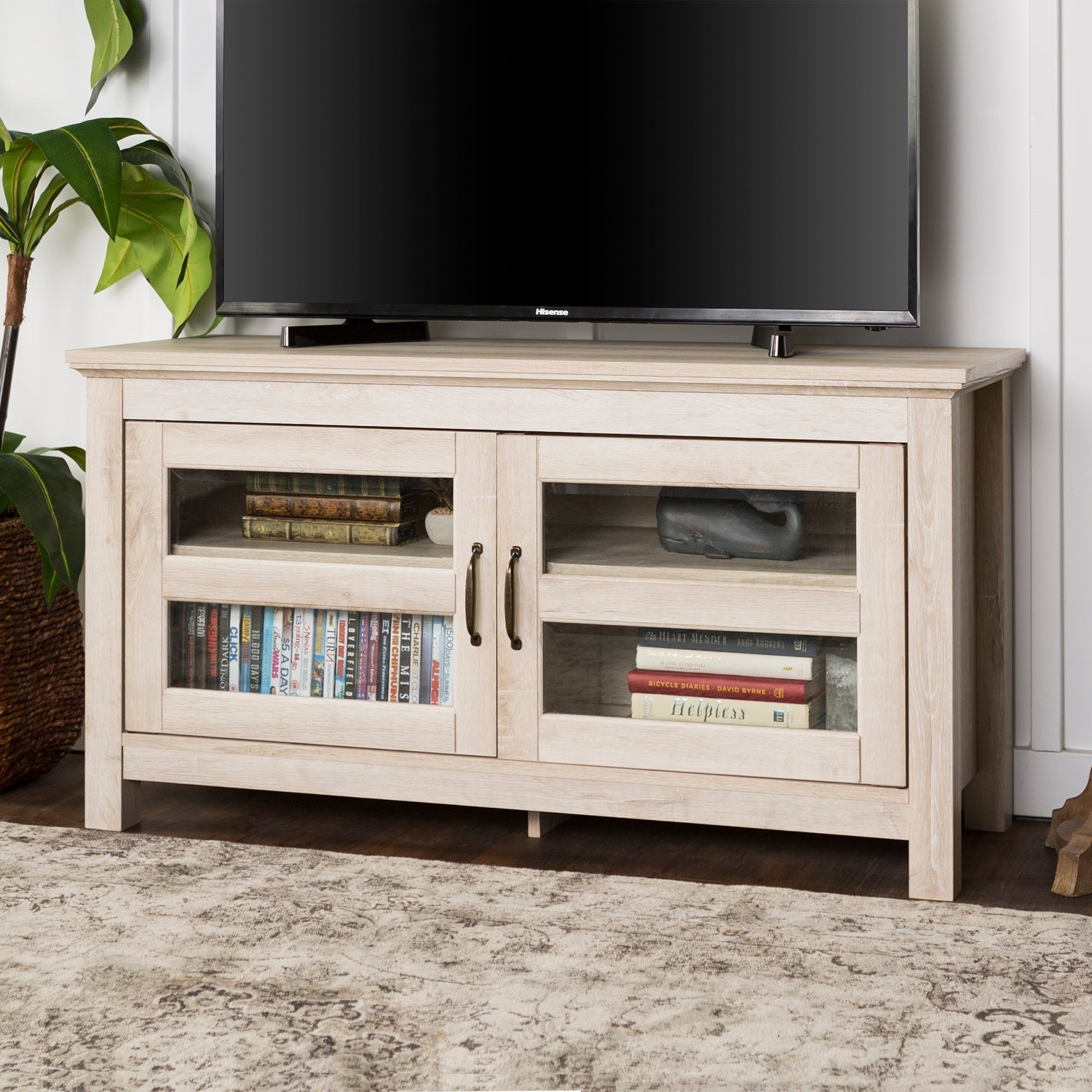 Shop 44 Inch Wood Tv Stand Storage Console Free Shipping On