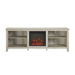 70-inch Wood Media TV Stand Console with Fireplace (3 options available)