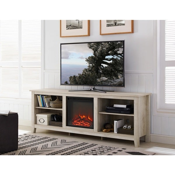 70 inch wood media tv stand console with fireplace free shipping today overstock 22394043. Black Bedroom Furniture Sets. Home Design Ideas