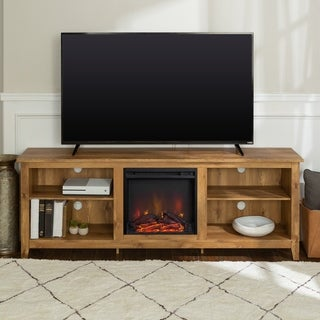 70-inch Wood Media TV Stand Console with Fireplace