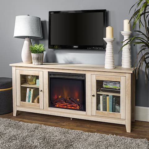 "58"" Fireplace TV Stand Console - White Oak"