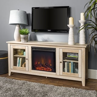 """58"""" Country Style Wood Media TV Stand Console with Fireplace"""