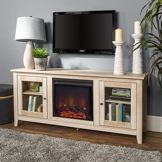"58"" Country Style Wood Media TV Stand Console with Fireplace