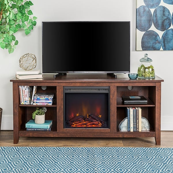 58 Inch Wood Fireplace Media Tv Stand Console