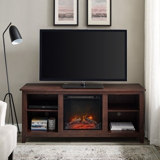 58-inch Wood Fireplace Media TV Stand Console - Traditional Brown