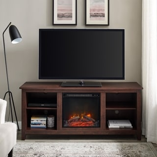 58 Inch Wood Fireplace Media TV Stand Console   Traditional Brown