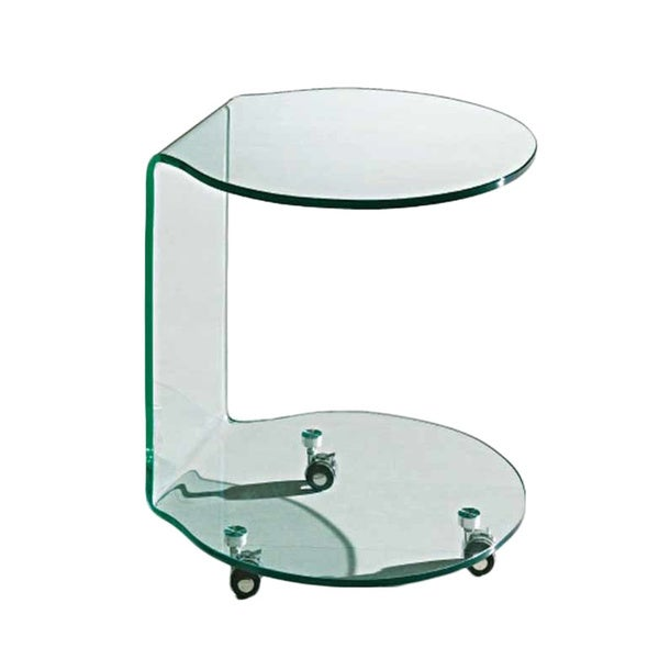 Creative Images International Glass Collection Mobile Bent Glass  Cylindrical End Table With Three Caster Wheels,