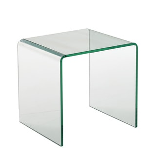 Creative Images International Glass Collection Bent Clear Glass Square End Table