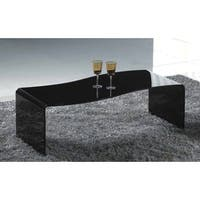 Creative Images International Black Bent Glass Wave Shape Coffee Table