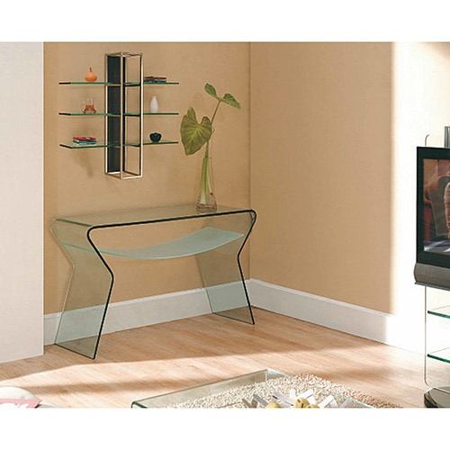 Creative Images International Gl Collection Bent Console Table With Frosted Shelf