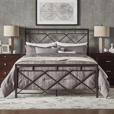 Bianka Geometric X-Design Dark Bronze Metal Bed by iNSPIRE Q Classic
