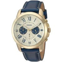 Fossil Men's  'Grant' Chronograph Blue Leather Watch