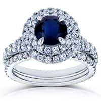 Annello by Kobelli 14k White Gold 2 5/8ct TGW Round Sapphire and Diamond Double Halo Vintage Bridal Set