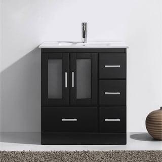 vanity table no mirror. Virtu USA Zola 30 inch Ceramic Single Bathroom Vanity Set with No Mirror Faucet and