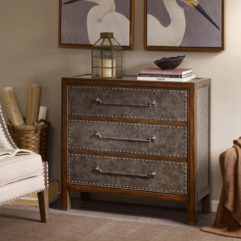 Madison Park Alban Brown Multi/ Walnut Faux Leather 3 Drawer Chest