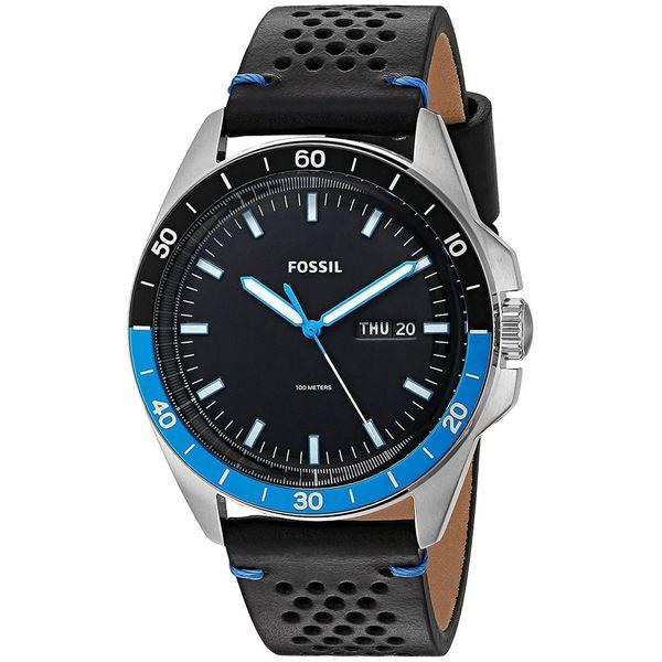 Fossil Men's  'Sport 54' Black Leather Watch -  FS5321