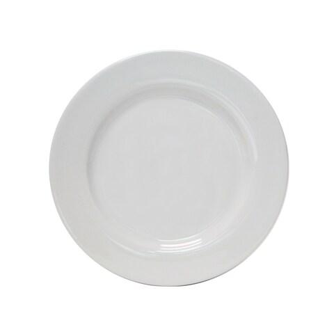 """Tuxton Home Alaska Wide Rim Dinner Plate 10 1/2"""" Porcelain White - Set of 4"""