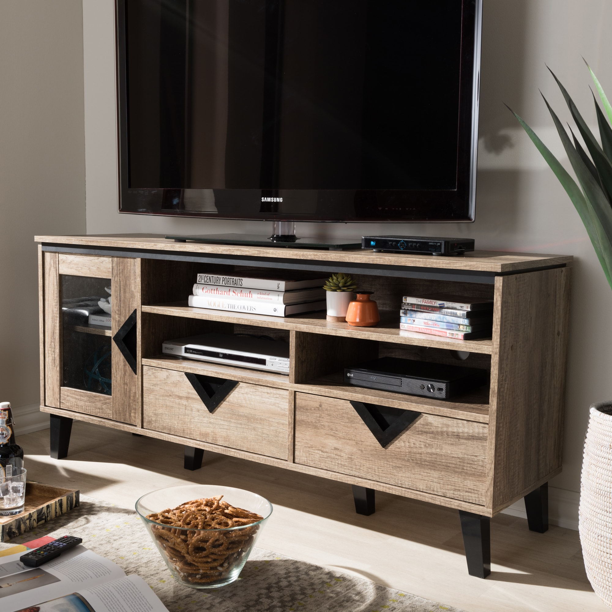 Shop Contemporary Light Brown Wood 2 Drawer 55 Inch Tv Stand By