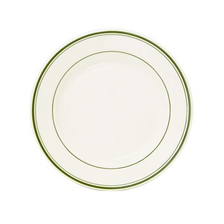 """Tuxton Home Green Bay Striped Wide Rim Dinner Plate 10-1/2"""" - Set of 4"""