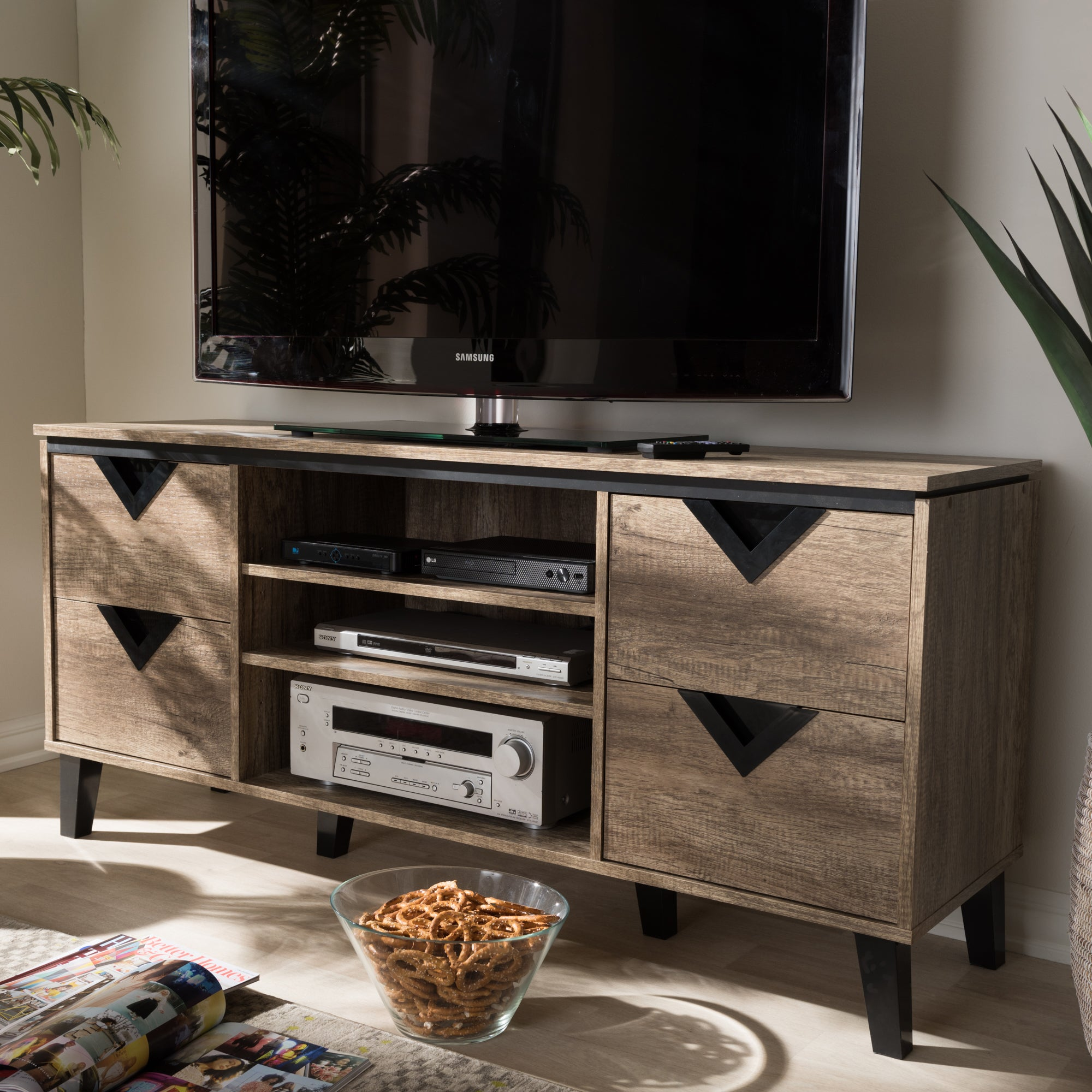 Miraculous Contemporary Light Brown Wood 4 Drawer 55 Inch Tv Stand By Baxton Studio Home Interior And Landscaping Mentranervesignezvosmurscom