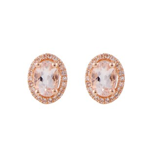 10K Rose Gold Morganite and Diamond Princess Diana Oval Halo Stud Earrings (1/5cttw, H-I Color, I1-I2 Clarity)