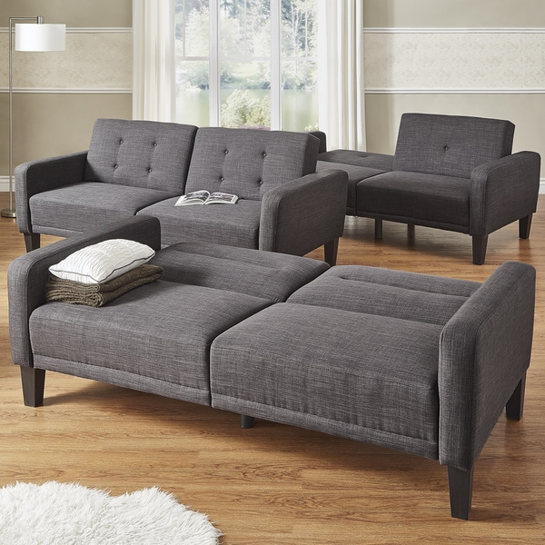 Daxton Dark Grey Linen Rounded Arm Futon Sofa By INSPIRE Q Modern