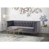 Sebastian Grey Velvet and Wood Sofa