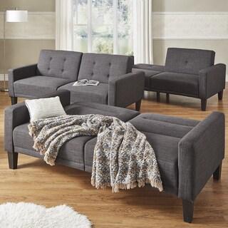 Daren Dark Grey Linen Square Arm Futon Sofa INSPIRE Q Modern