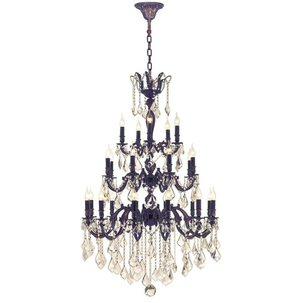 "French Royal Collection 25 Light Flemish Brass Finish and Golden Teak Crystal Chandelier 36"" D x 50"" H Three 3 Tier Large"