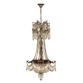 "French Empire Basket Collection 3 Light Antique Bronze Finish and Golden Teak Crystal Chandelier 20"" D x 34"" H Medium"