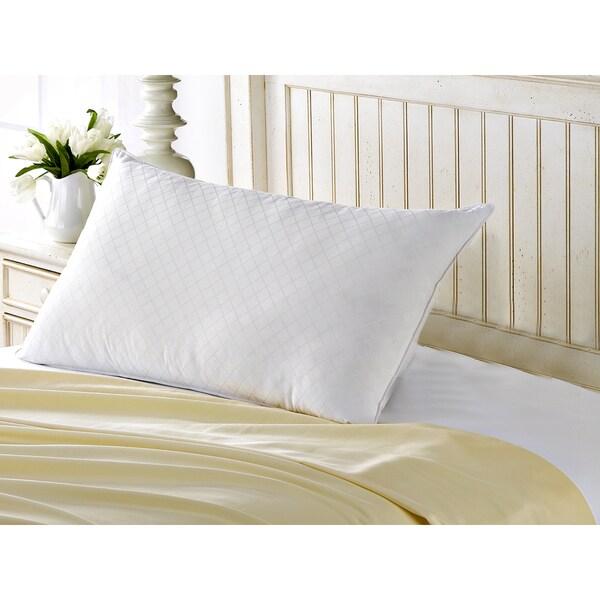 100% Cotton Diamond Jacquard Memory Fiber Filled Pillow - All Type Sleepers - White