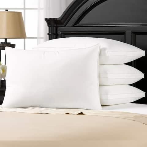 Luxury Plush Allergy Resistant Medium Down Like Fiber Filled Pillow (Set of 4) - All Type Sleepers