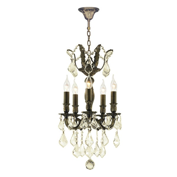 """French Royal Collection 5 Light Antique Bronze Finish and Golden Teak Crystal Mini Chandelier 15"""" D x 22"""" H"""