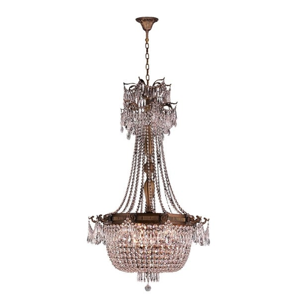 """French Empire Basket Collection 10 Light French Gold Finish and Clear Crystal Chandelier 30"""" D x 50"""""""