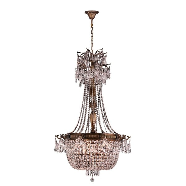 "French Empire Basket Collection 10 Light French Gold Finish and Clear Crystal Chandelier 30"" D x 50"" H Large"