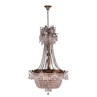 """French Empire Basket Collection 10 Light French Gold Finish and Clear Crystal Chandelier 30"""" D x 50"""" H Large"""