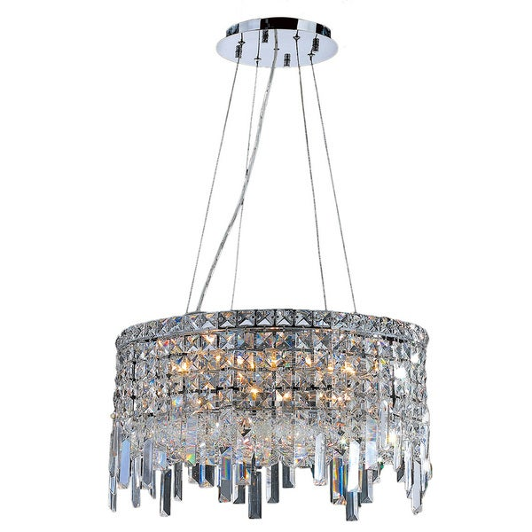 Crystal Icicles Art Deco Style 12 Light Chrome Finish with Clear Crystal Chandelier