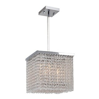 """Crystal Bead Fringe Collection 4 Light Chrome Finish and Clear Crystal Square Pendant 10"""" L x 10"""" W x 10"""" H Small"""