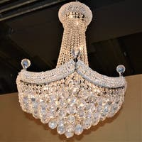 "French Empire Collection 15 Light Chrome Finish Crystal Chandelier 24"" D x 32"" H"