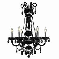 "Metro Candelabra Collection 6 Light Chrome Finish and Black Crystal Chandelier 25"" D x 34"" H Large -"