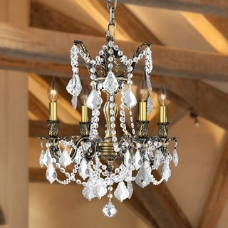 "French Palace Collection 4 Light Antique Bronze Finish and Clear Crystal Chandelier 17"" D x 21"" H Medium"