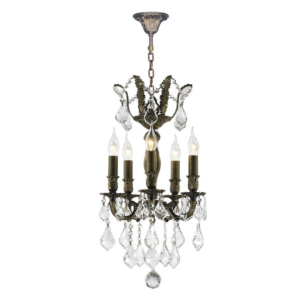"French Royal Collection 5 Light Antique Bronze Finish and Clear Crystal Mini Chandelier 15"" D x 22"" H"