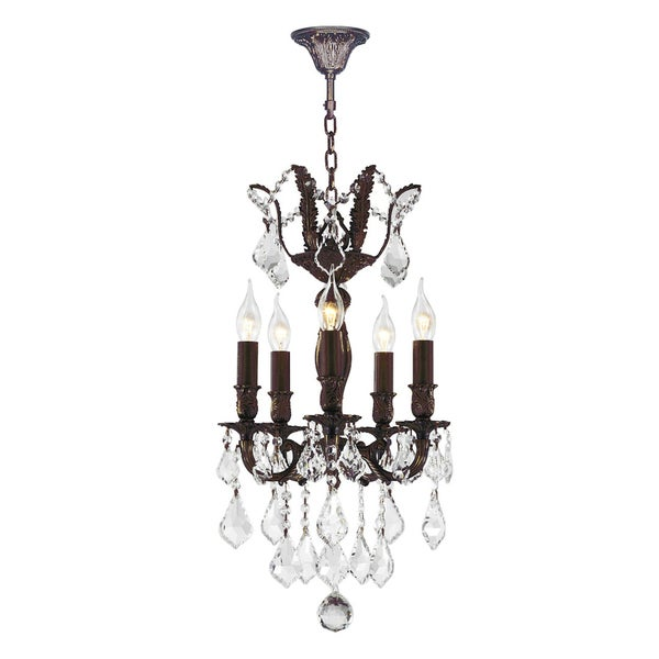 "French Royal Collection 5 Light Flemish Brass Finish and Clear Crystal Chandelier 13"" D x 23"" H Mini"