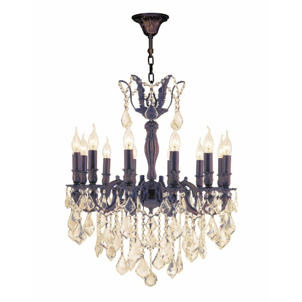 """French Royal Collection 12 Light Flemish Brass Finish and Golden Teak Crystal Chandelier 24"""" D x 27"""""""
