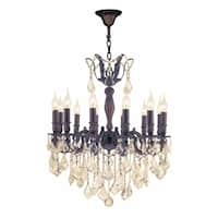 "French Royal Collection 12 Light Flemish Brass Finish and Golden Teak Crystal Chandelier 24"" D x 27"""