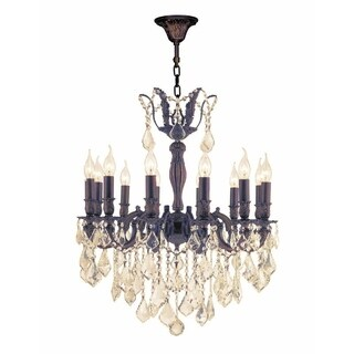 "French Royal Collection 12 Light Flemish Brass Finish and Golden Teak Crystal Chandelier 24"" D x 27"" H Large"