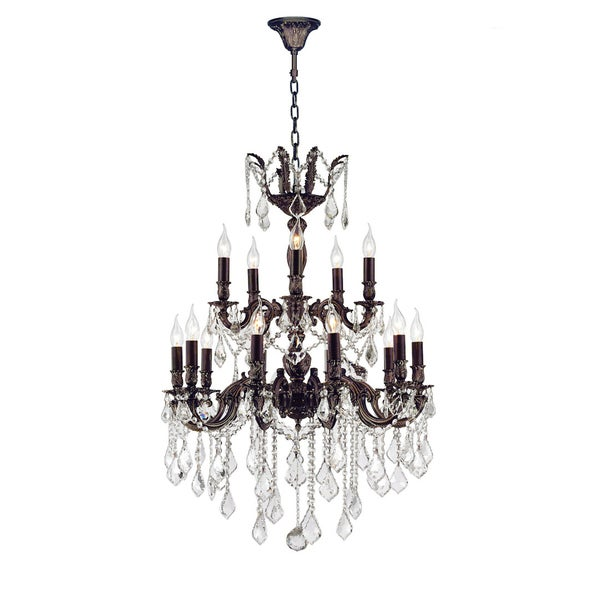 "French Royal Collection 18 Light Flemish Brass Finish and Clear Crystal Chandelier 24"" D x 35"" H Two 2 Tier Large"
