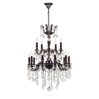 """French Royal Collection 18 Light Flemish Brass Finish and Clear Crystal Chandelier 24"""" D x 35"""" H Two 2 Tier Large"""