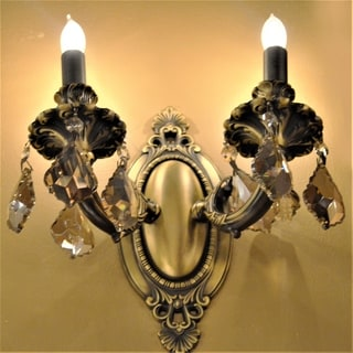 "French Palace Collection 2 Light Antique Bronze Finish Crystal Candle Wall Sconce 9"" W x 10.5"" H Medium"