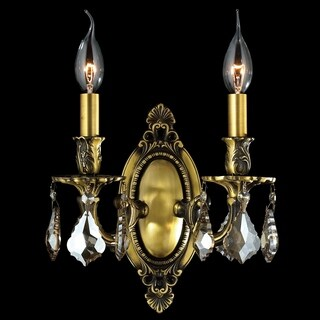 """French Palace Collection 2 Light Antique Bronze Finish & Golden Teak Crystal Candle Wall Sconce 9"""" W x 10.5"""" H Medium"""